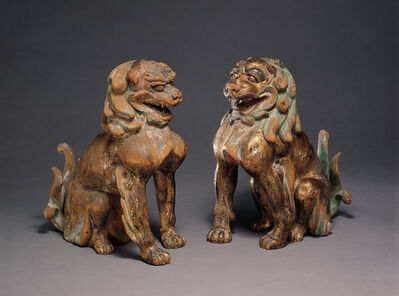 'Two Lion-Dogs (Komainu)', 13th century