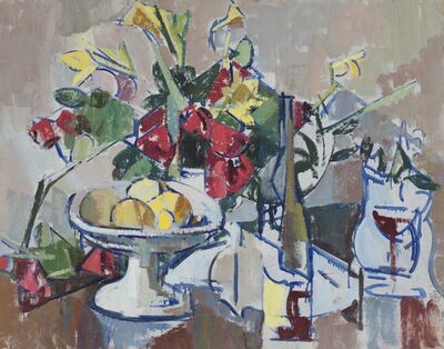 Herbert Barnett, 'Compote, Wine Bottle and Bouquet', ca. 1949-1951
