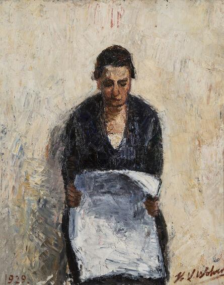 Henri-Victor Wolvens, 'Mère lisant le journal', 1929
