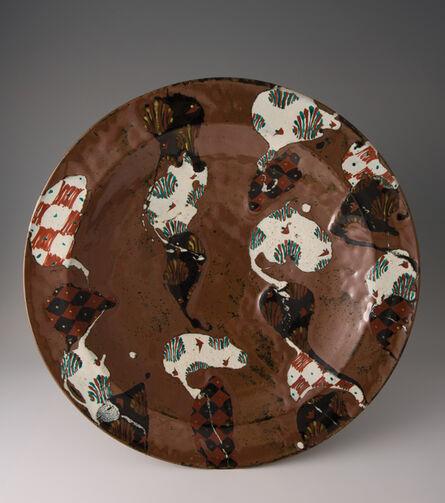 Tomoo Hamada, 'Large plate, kaki glaze with akae decoration', 2010