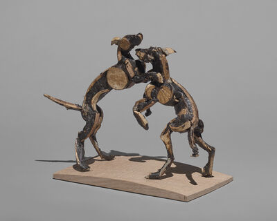 Sophie Dickens, '9. Playing Dogs. Wooden original. To be cast in Bronze', 2017