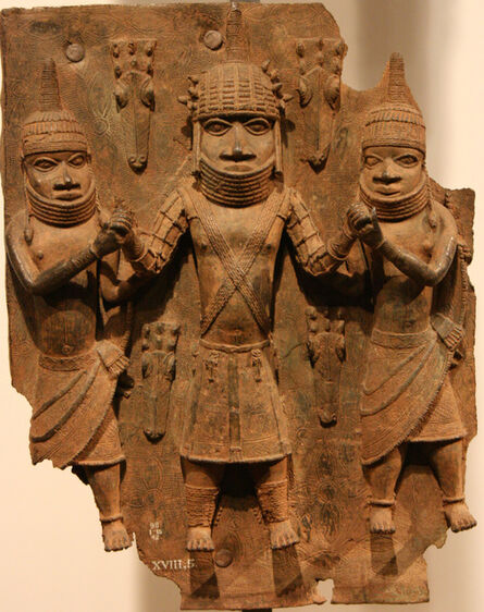 'Plaque: Warrior chief with attendants, Edo peoples', 16th century