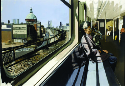 Richard Estes, 'M Train on Route to Manhattan Approaches the Williamsburg Bridge', 1995