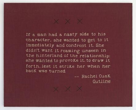 Elaine Reichek, 'Nasty Side (Rachel Cusk)', 2019