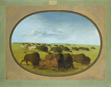 George Catlin, 'Buffalo Chase, with Accidents', 1861/1869