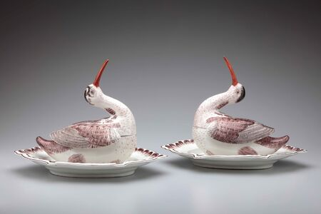 Höchst Porcelain Manufactory, 'Pair of woodcock tureens', ca. 1750-55