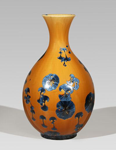 Hongwei Li, 'Pear-shaped vase, splash peacock blue glaze'