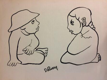 Diego Rivera, 'Niños Platicando'