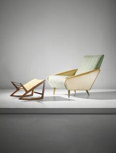 Gio Ponti, ''Distex' armchair, model no. 807, and rare footstool', ca. 1954