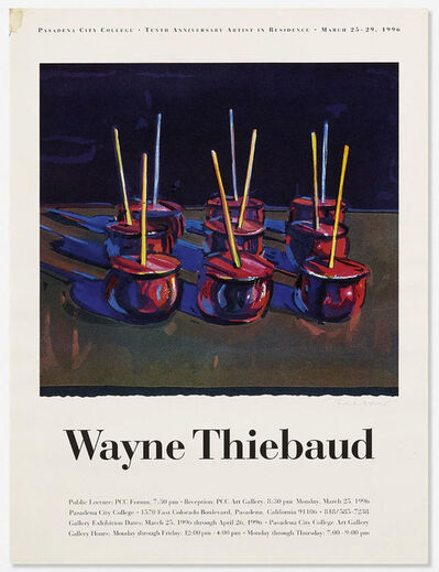 Wayne Thiebaud, 'Pasadena City College 10th Anniversary Artist in Residence Print', 1996