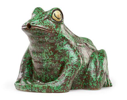 Weller Pottery, 'Rare large Coppertone Frog lawn ornament/fountain, Zanesville, OH', 1930s
