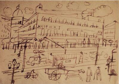 Joaquín Torres-García, 'Calle de ciudad con tranvías', 1917