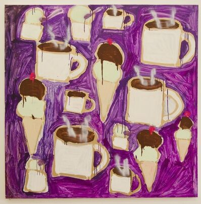 Katherine Bernhardt, 'Ice Cream (Chocolate and Pistachio) and Steaming Hot Coffee', 2013