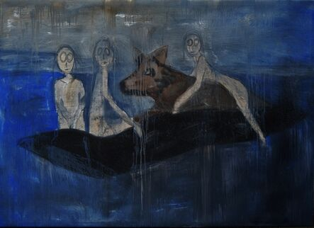 Reiner Heidorn, 'Wolf Riders On Boat'