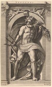 Hendrik Goltzius after Polidoro da Caravaggio, 'Neptune', probably 1592