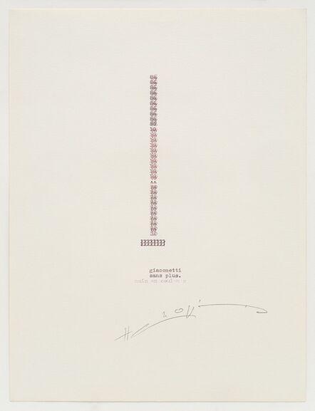 Henri Chopin, 'Giacometti', 1986