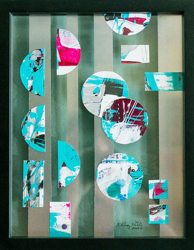Whitney Pintello, 'Portholes 2- Collaged Geometric Abstract Painting in Shadow Box', 2020