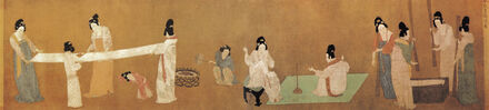 Attributed to Emperor Huizong, 'Detail of Ladies Preparing Newly Woven Silk, copy after a lost Tang dynasty painting by Zhang Xuan, Northern Song dynasty', Early 12th century