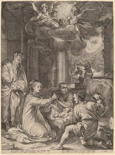Hendrik Goltzius (Style of Jacopo Bassano), 'The Adoration of the Shepherds', 1594
