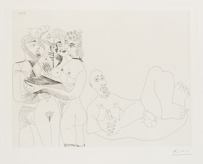 Pablo Picasso, '156 Series: Reclining Male Nude and Five Embracing Nudes, One a Hermaphrodite (Bloch 1977)', 1971