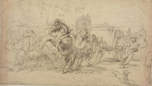 Circle of Jean-Louis-André-Théodore Géricault, 'The runaway carriage'