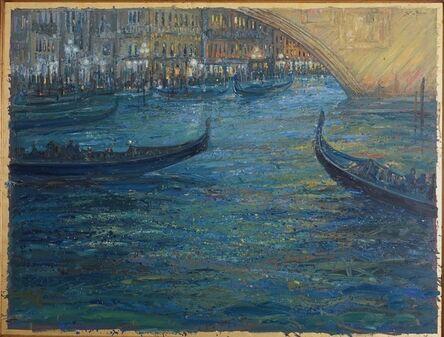 Bruno Zupan, 'Gondolas Passing Under Rialto Bridge', 2019