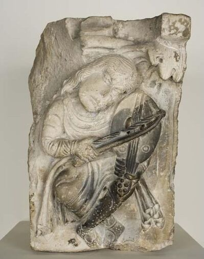 Unknown Artist, 'Capital (Musician Playing a Vielle)', ca. 1125-50
