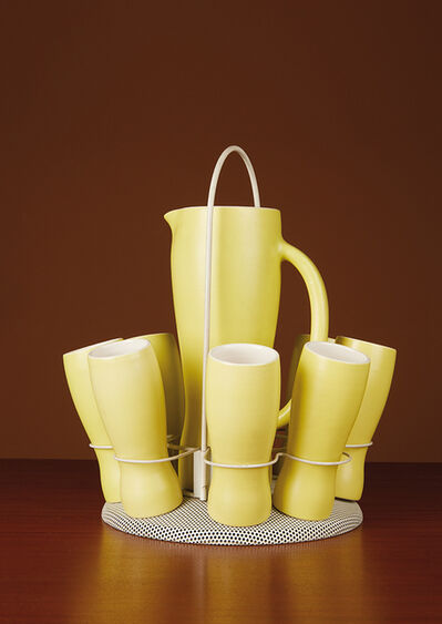 Mathieu Matégot, 'Orange service: a pitcher, eight goblets and a tray', vers 1960
