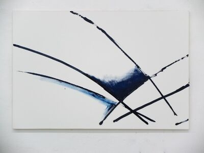 Max Ruf, 'untitled (prussian blue line, fading, white ground, B)', 2015