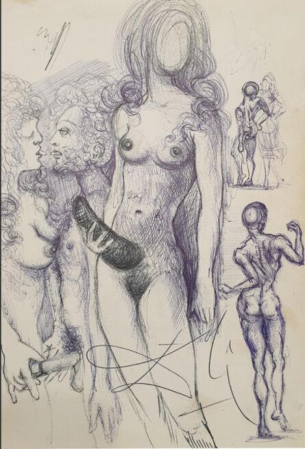 Salvador Dalí, 'Nu féminin à la corne et couples', 1954-55