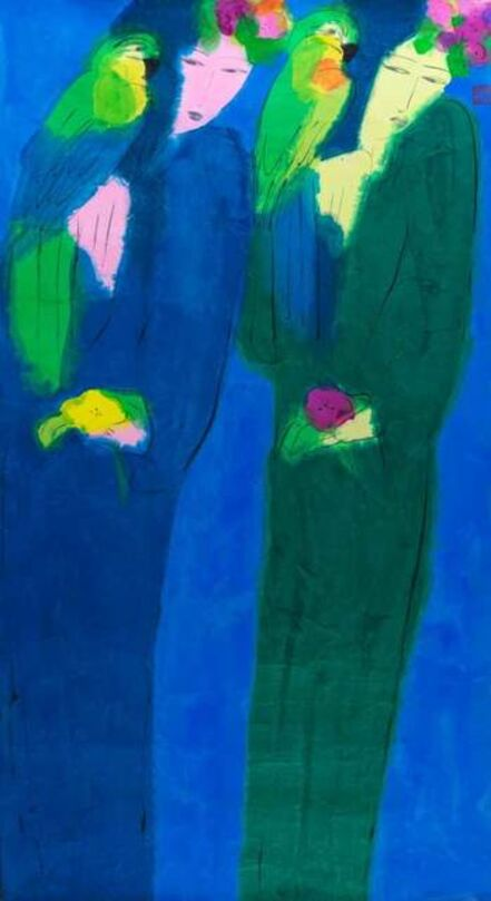Walasse Ting 丁雄泉, 'Two Ladies, Two Parrots', 1980-1985