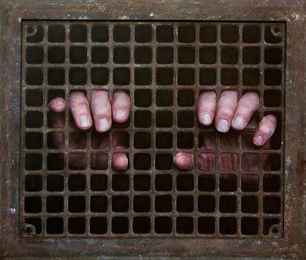 Dan Witz, 'Gary 2 Hands (Rusty Grate)', 2018