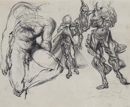 Salvador Dalí, 'Étude de figures masculines, trois érotiques et étude pour le tableau : Vitesse maximale de la vierge de Raphaël', ca. 1952-1954