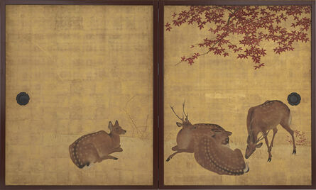 Mori Tetsuzan, 'Deer and Maples, Cranes and Pine Sapling. Japan, Edo period (1615–1868)', 18th-19th century
