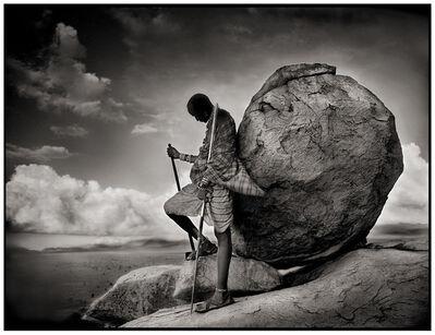 Nick Brandt, 'Maasai leaning against rock, Chyulu Hills', 1998