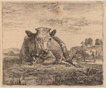 Adriaen van de Velde, 'Recumbent Cow', 1657