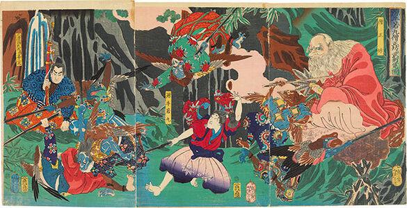 Tsukioka Yoshitoshi, 'Ushiwaka Maru learns the martial arts from Sojobo', 1865