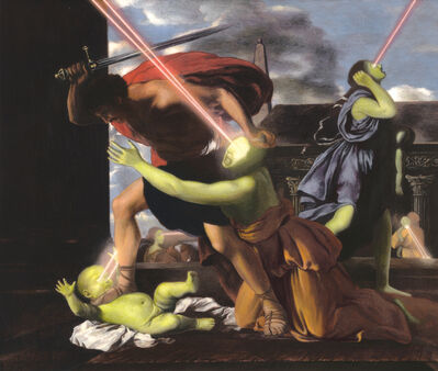 Adam Mysock, 'Having Found the Lowest Threshold (St. George Slaying the Dragon) (after: Nicolas Poussin's Massacre of the Innocents, 1629)', 2013