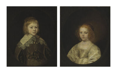 Circle of Cornelis Jonson van Ceulen I, 'Portrait of a boy; portrait of a girl, traditionally identified as James, Duke of York (later James II, son of Charles I) and his sister (later the Duchess of Orleans), half-length, in painted ovals'
