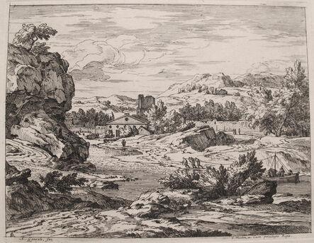 Abraham Genoels II, 'Landscape with Barge', 1600's