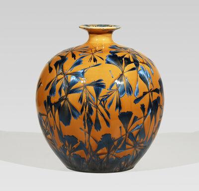 Hongwei Li, 'Pomegranate vase, splash peacock blue glaze'
