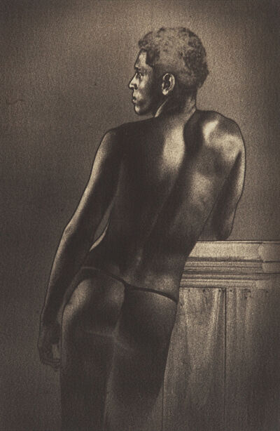 Lionel Wendt, 'Untitled (Male Nude with Books)', ca. 1934-38