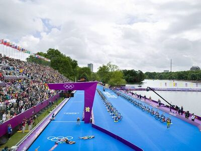 Simon Roberts, 'Women's Triathlon, Hyde Park, London, 4 August 2012', 2015
