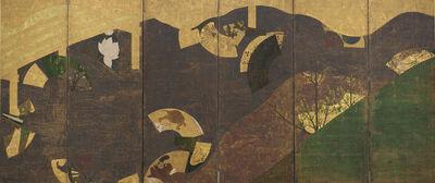 Tawaraya Sōtatsu, 'Ivy Vines, Bridges, and Floating Fans', 17th century