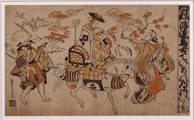 Torii Kiyomasu, 'Teika's Journey - Acte IV: Le voyage de Teika – Acte IV : Ukare mumakata Teika no mi- chiyuki, represented at the Yamamura theatre in Edo in the 11th lunar month of 1710', 7th year of the Meiwa era-1710