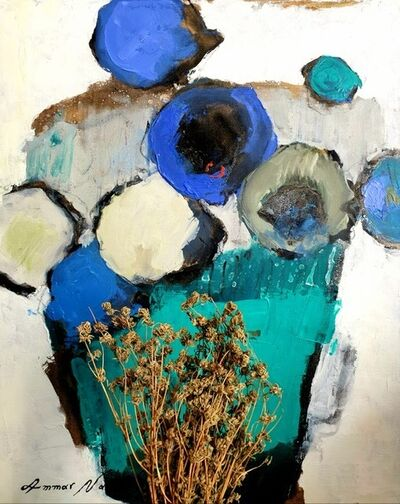 Ammar Alnahhas, 'Blue and White sunflowers in a green vase', 2021
