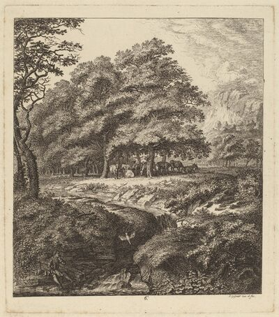 Salomon Gessner, 'Cattle Resting in a Grove with a Man Seated beside a Brook', 1764