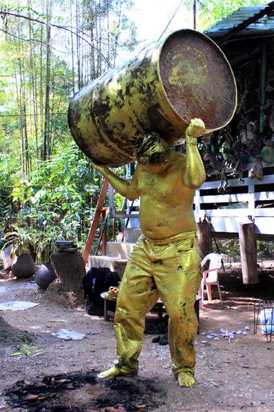 Bandu Manamperi, 'Golden Barrel Man (Performance Still) ', 2013