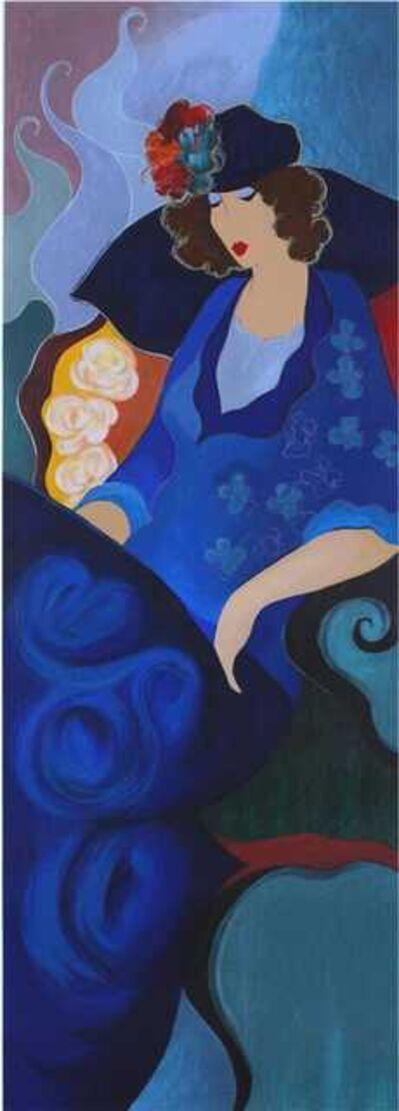 Itzchak Tarkay, 'Blue Dress (aka Lady in Blue)', 2003
