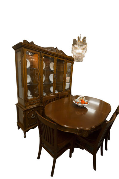French Provincial/Italian Baroque, 'Carved Wood French Provincial Dining Room Set', 1980's